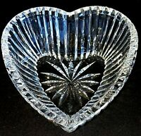 1 (One) WATERFORD GIFTWARE Cut Lead Crystal Heart Candy Trinket Dish Bowl-Signed