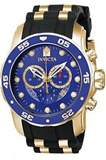 Invicta Men's Pro Diver Chrono Gold Plated S. Steel Black Silicone Watch 6983