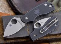 Spyderco Squeak Folding Knife N690Co Steel Leaf Shaped Blade Black FRN Handle