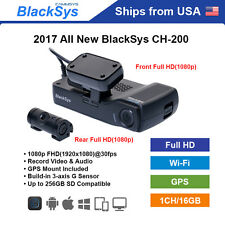 BlackSys 2 Channel CH-200 Full HD WiFi GPS 16GB Dashcam + DC Hardwire Cable