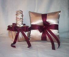 Champagne Satin / Burgundy Trim Flower Girl Basket & Ring Bearer Pillow #2