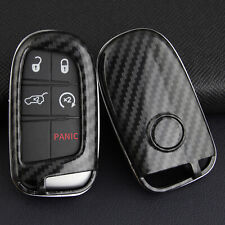Carbon Fiber Hard Key Shell Fob Case Cover Holder For Jeep Dodge Chrysler