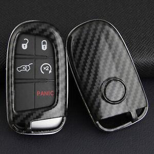 Carbon Fiber Hard Key Shell Fob Case Cover Holder For Jeep Dodge Chrysler