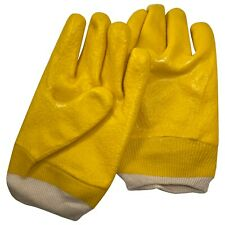 Pair of PVC Coated Yellow Jersey Lined Men Refrigerant Handling & Freezer Gloves