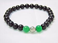 Black Obsidian Green Aventurine Bracelet Unisex Natural Crystal Stones Quartz