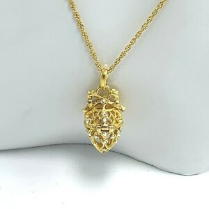 Joan Rivers AB Faberge Present Egg Pendant Necklace MOP Hinged Locket