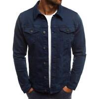 Fall Men Denim Jacket Coat Pocket Shirt Jackets Collared Tops