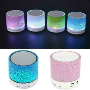 Bluetooth-compatible Wireless Speaker Portable Round Lights LED Shape O5X3