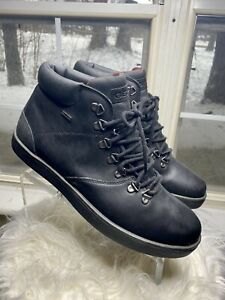 Geox Men's Respira Chelsea Ankle Boots Black Leather Lace Up 45 / US 12