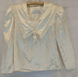 Gunne Sax Jessica McClintock Size S? Satin Victorian Blouse Lace Ivory