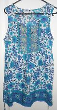 BHS Authentic Casualwear Teal Navy & White Print Gold Detail Cotton Top size 10