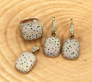Turkish Handmade 925 Sterling Silver Chic Mixed Stones Set