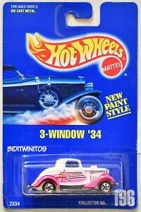 HOT WHEELS 1991 BLUE CARD 3-WINDOW '34 #196 PINK FENDERS 12