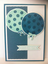 Handmade birthday card with balloons. Dark blue design #1