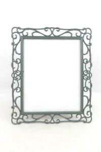 Elegant Wrought Iron Green 8 Inch X 11 Inch Picture Frame Free Standing Ornate
