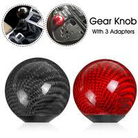 Universal Car Round Ball Shape Gear Knob Shifter + Adapter Carbon Fiber Aluminum