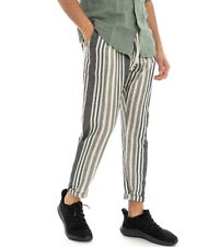 Pantalone Uomo Verde A Righe Multicolore Lino Rigato Casual Slim Tasca Americ...