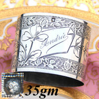 "Elegant Antique French Sterling Silver Napkin Ring, Floral, ""Andree"" Inscription"