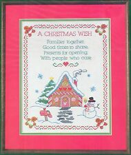 """Dimensions Stamped Cross Stitch Kit A Christmas Wish Sampler 1984 #8317 11x14"""""""