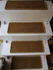 2 Premium Sisal Flat Weave carpet stair pads treads Natural Gold 53cmx20cm