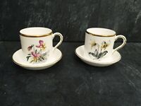A Pair Of Royal Worcester Alpine Flowers Coffee Cups