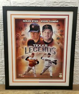 Signed Nolan Ryan Roger Clemens Framed Print Autographed Houston Astros 22x26 C1