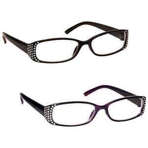 UV Reader Womens Ladies Black Purple Reading Glasses Value 2 Pack RR93-15