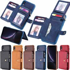 For iPhone Xs Max XR 6 7 8 Plus Wallet Card Holder Shockproof Leather Case Cover