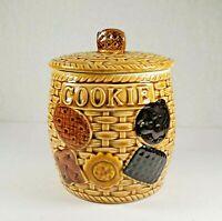 VINTAGE Cookie Jar Basket Weave Boho Brown Ceramic 60s Napcoware, Cookies side