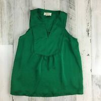 Anthropologie Maeve Emerald Green Sleeveless Top Blouse Shell Sz 00P Petite