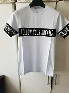Mens Slim Fit Summer  Collection Crew Neck Follow Your Dreams  T - Shirt   White