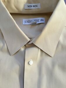 Joseph & Feiss Men's Button Front Dress Shirt Size 16.5 34/35 TAN NON IRON
