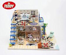 Doll Labs Dollhouse Miniature DIY House Model Kit with Furniture - Blue Coast