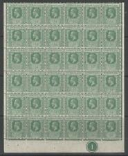 CAYMAN ISLANDS SG41 1912 ½d GREEN PLATE 1 BLOCK OF 36 MNH