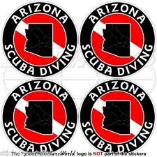 "ARIZONA SCUBA DIVING Flag-Map Shape USA 50mm (2"") Circular Stickers Decals x4"