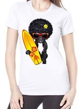 French Bulldog Surfer With Afro Hair Women's T-Shirt - Funny Pet Bull Dog