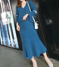 2PCS Women Cashmere Knit V-Neck Long Sleeve Tops V Neck Skirts Suits Blue Party