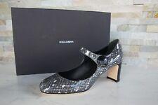 orig Dolce & Gabbana D&G Gr 37 Pumps Schuhe schwarz Strickmuster  NEU UVP 575 €