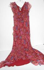 Robbie Bee Size 12 Red  Floral Silk Maxi Cap Sleeve Dress Prom Wedding Easter
