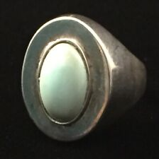 Modern Mexico 925 Sterling Silver Turquoise Adjustable Ring (Sz 8.25) B174