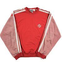 Vintage 90s Crewneck Sweatshirt Adult Large Retro Surfer Stripes Color Block Red