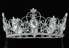 "Pageant Wedding 3.5"" Full Circle Round Tiara Sapphire King / Queen Crown AT1721"