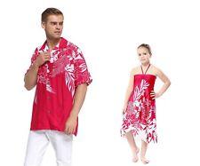 Father Daughter Matching Dress Shirt Hawaiian Dance Luau Party in Pink Indri