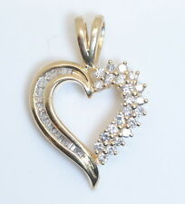 GORGEOUS! 14K Yellow Gold 1/3 Ct. Baguette & Brilliant Diamond Heart Pendant