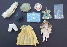 "Vtg 1900's ANTIQUE MINI 4"" KESTNER BISQUE Doll Painted Socks 130/072 & Acc"