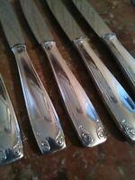 6 Couteaux à Entremets Style Art Deco Orfèvre François Frionnet
