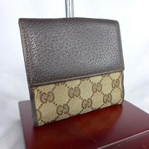 Authentic Vintage Gucci Brown GG Monogram Canvas Small Wallet Purse Good Con