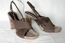 SAX / ITALY / CROSS-STRAP SLINGBACK IN BROWN PERFORATED SUEDE / 38 / SUPERB