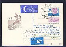 58544) LH FF Hannover - Barcelona Spanien 2.4.91  card feeder mail Israel