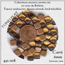452008 *** 12 CABOCHONS ANCIENS VERRE BOHÊME CARRÉS 6mm MARRON